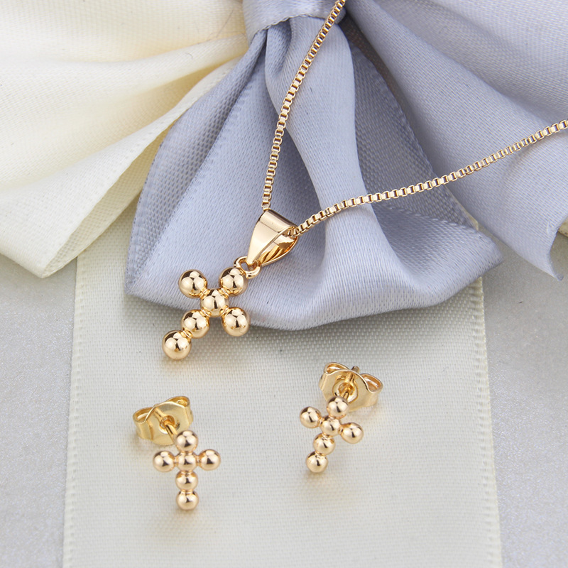 round bead cross ear stud necklace set hot sale gold-plated spherical pendant ear pin wholesale nihaojewelry NHBP221150