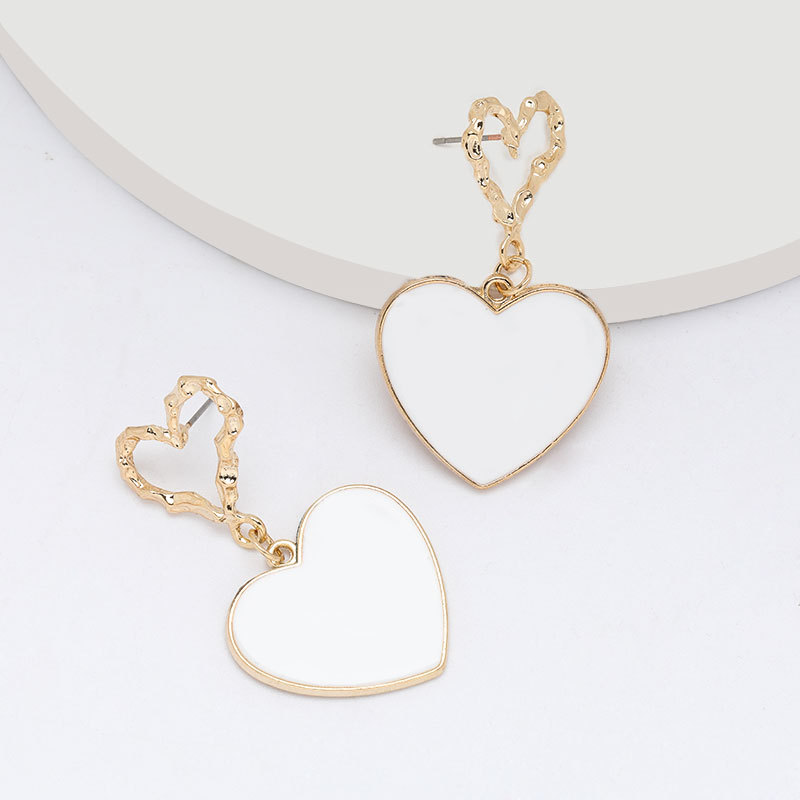 Fashion earrings multi-layer love heart-shaped oil drop retro earrings for women NHJE197866