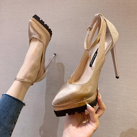 2759-26 han edition style light pointed mouth high-heeled shoes sexy words with women's shoes waterproof buckles for women's shoes