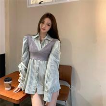 实拍~条纹翻领显瘦衬衫开衫坑条修身针织马甲女上衣套装
