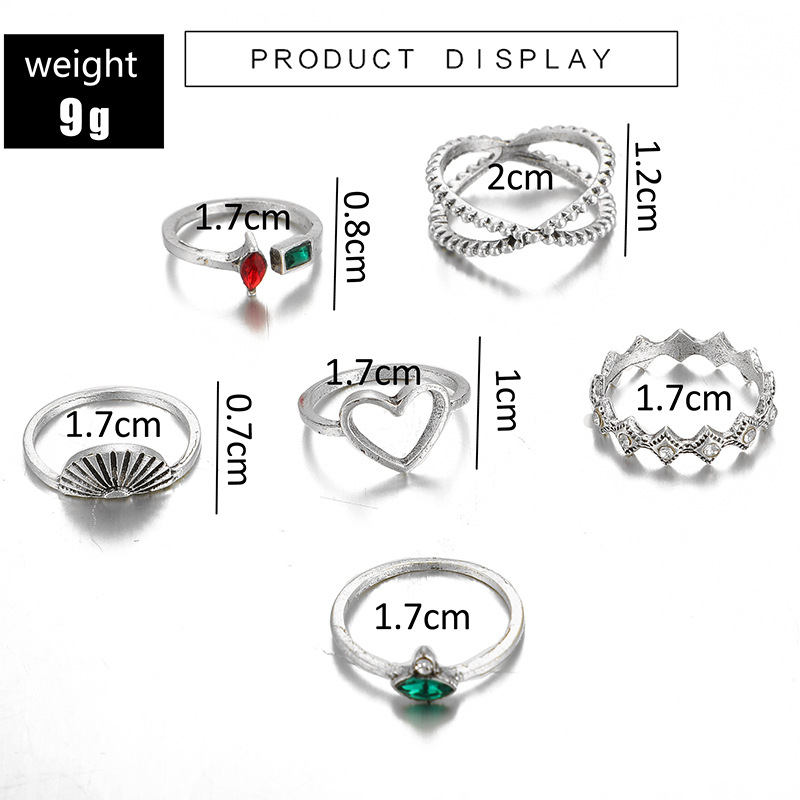 Fashion rings for women love scallop cross open diamond ring 6-piece combination joint ring NHGY202891