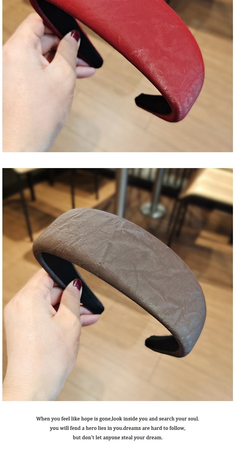 widesided solid color pu flat headband  NHUX283788