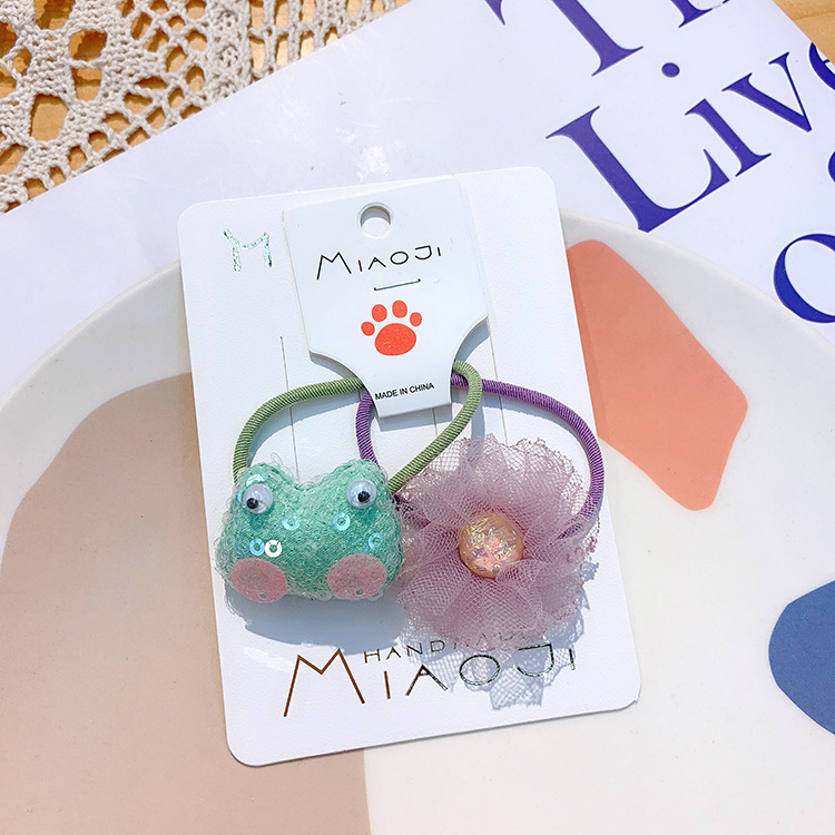 Korean childrens cartoon rabbit hair clip cute baby bear hair ring sequins water drop BB clip girl yarn flower head rope NHSA215429