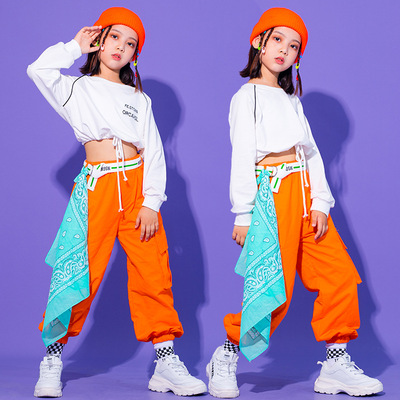 Children orange with blue jazz dance costumes girls hiphop street dance performance clothes girls gogo dancers tide suit with hat