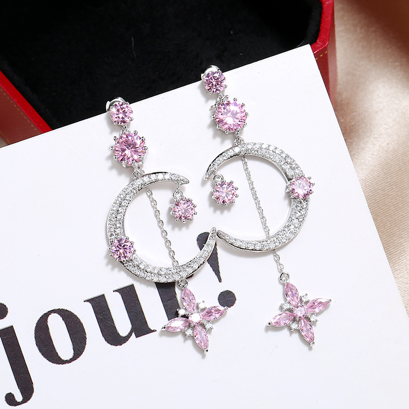 Symmetrical Large Zircon Earrings Korean Fashion Crystal Pendant Earrings Wholesale NHKQ194172