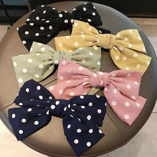 Japan and South Korea's popular Internet celebrity ins with the same wave point big bow hairpin back head hairpin spring clip headdress female