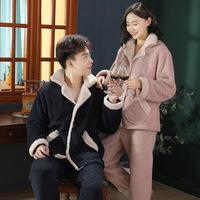 Осенне-зимняя новинка 2020 года из бархата ягненка, домашняя одежда для пар, утолщенная теплая пижама, корейский повседневный костюм с доставкой одной капли