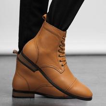 靴子男高帮真皮马丁靴黑色中筒皮靴男士大码4748牛仔靴时尚马靴潮