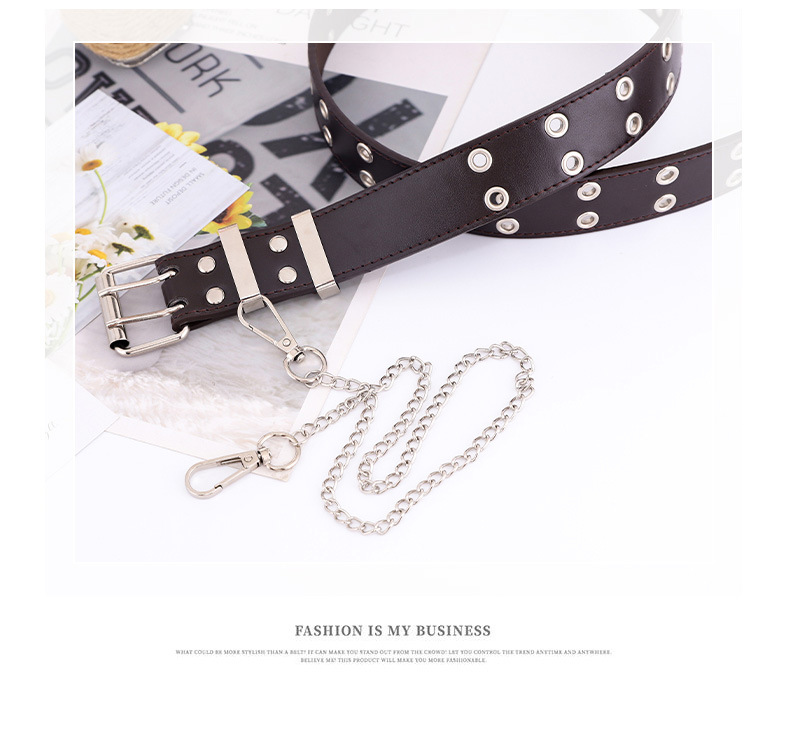 Korean simple new punk style double exhaust eye belt  jeans fashion chain belt nihaojewelry wholesale NHPO216322