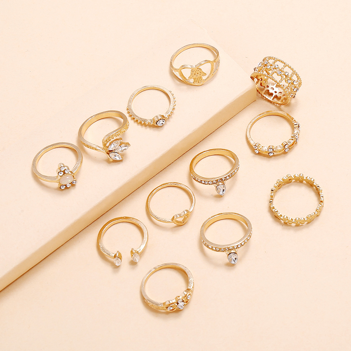 New Fashion Flower Leaf Love Palm Fatima Hand Diamond Hollow 12 Piece Ring Set NHPV205114