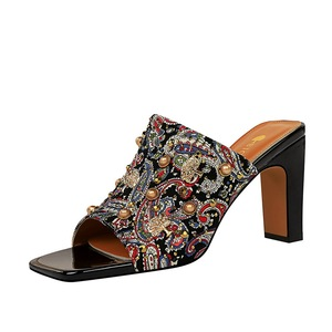 82-7 wind restoring ancient ways in Europe and the thick with high heels on floral metallic rivet diamond square head wo