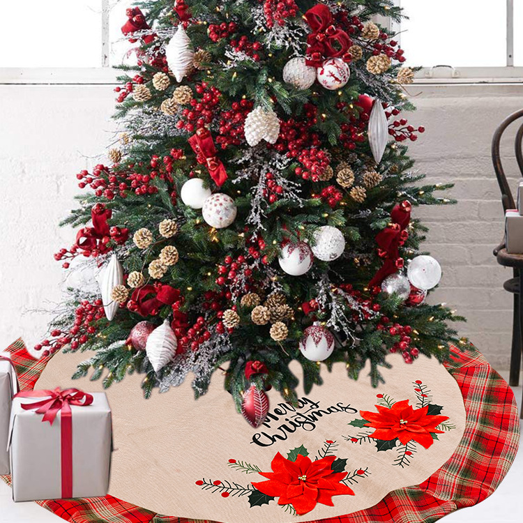 creative big red flower linen tree skirt hot-selling lattice christmas tree  NHHB262263