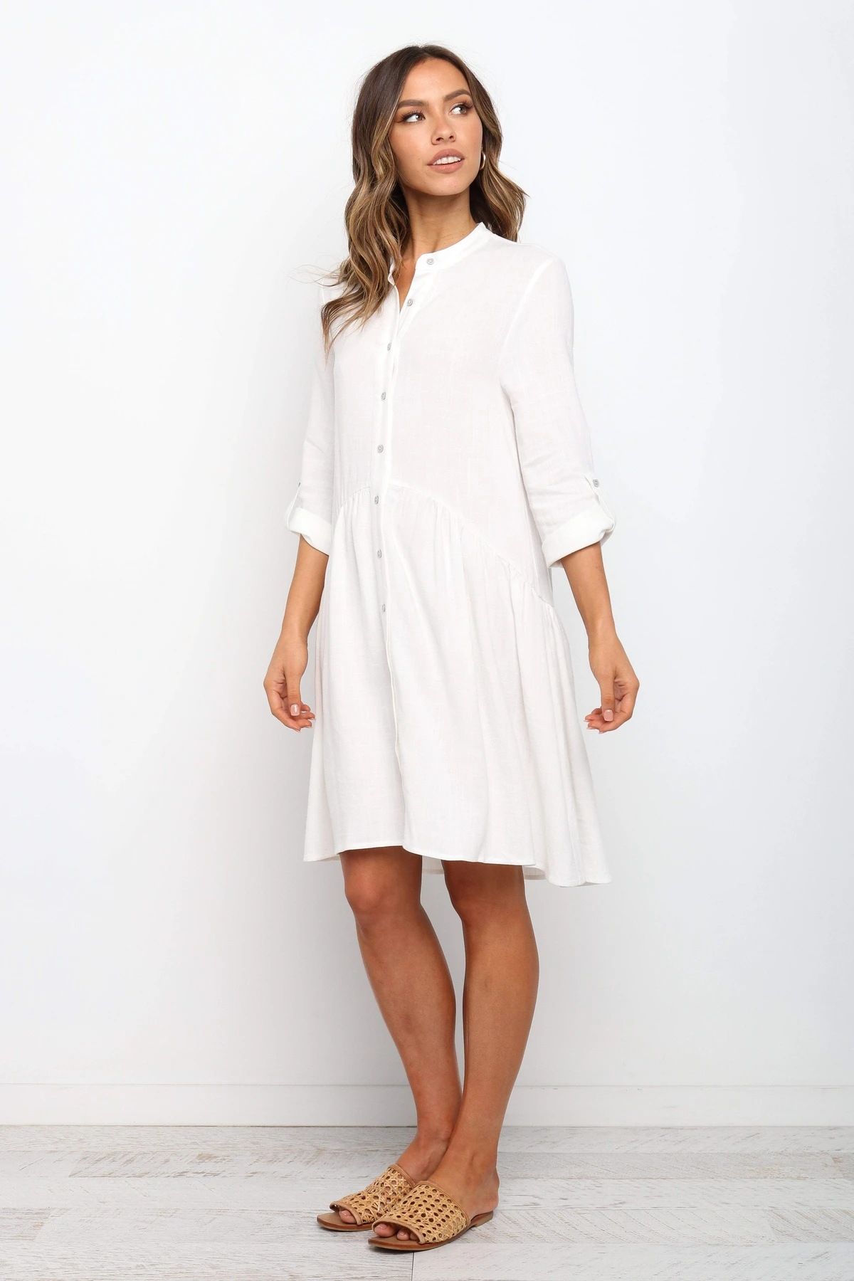 single-breasted rolled sleeves pleated temperament pure color dress NSYD3724