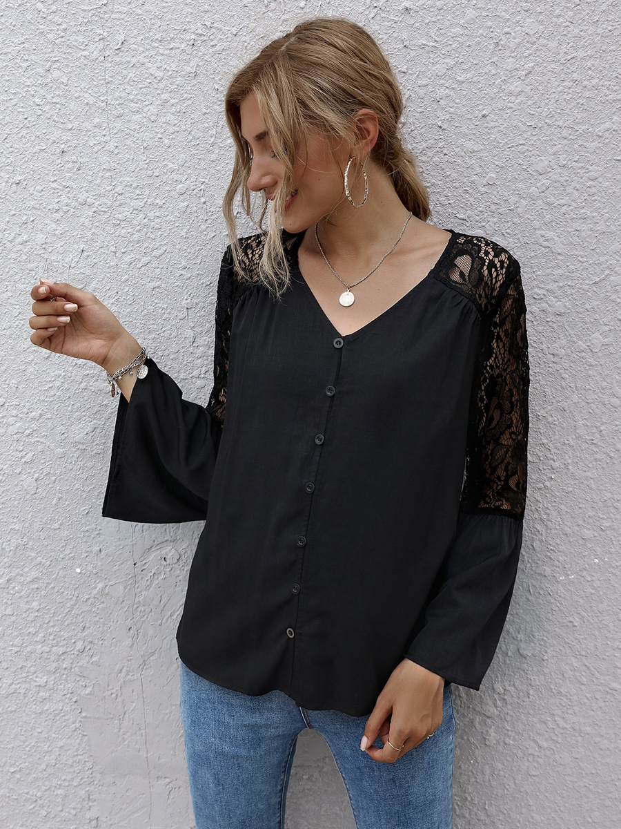 hot sale autumn V-neck lace stitching top  NSAL1957