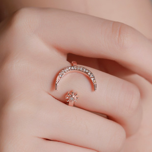 Cross-border hot sale crescent ring, European and American fashion star and moon ring, national wind star and moon index finger open ring