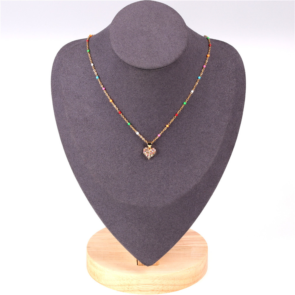 New Products Fashion Inlaid Color Diamond Love Heart Peach Heart Clavicle Chain Zircon Pendant Necklace Wholesale NHPY209792