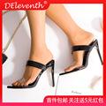 601-2工厂直供跨境女鞋欧美尖头高跟鞋凉拖鞋大码mule heel shoes