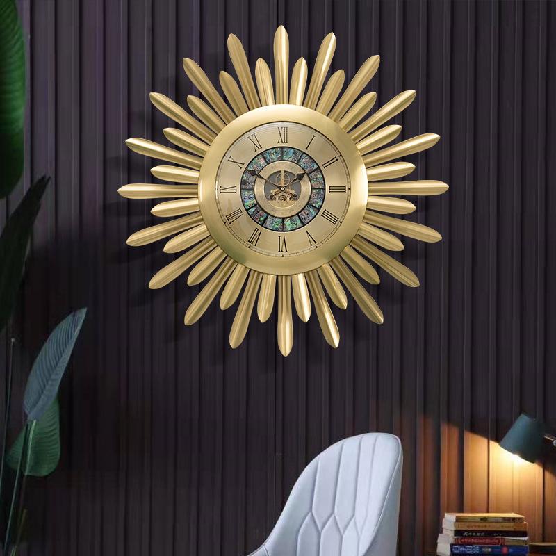 黄铜挂钟欧式轻奢华客厅钟表豪华别墅黄铜金属装饰时钟艺术太阳钟