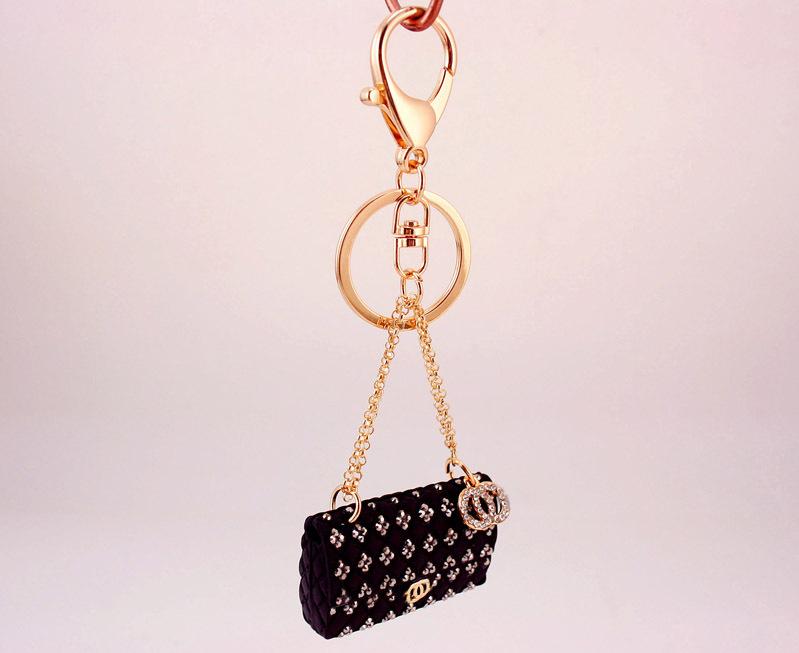 creative crystal diamond ladies chain bag shape key chain NHAK269841