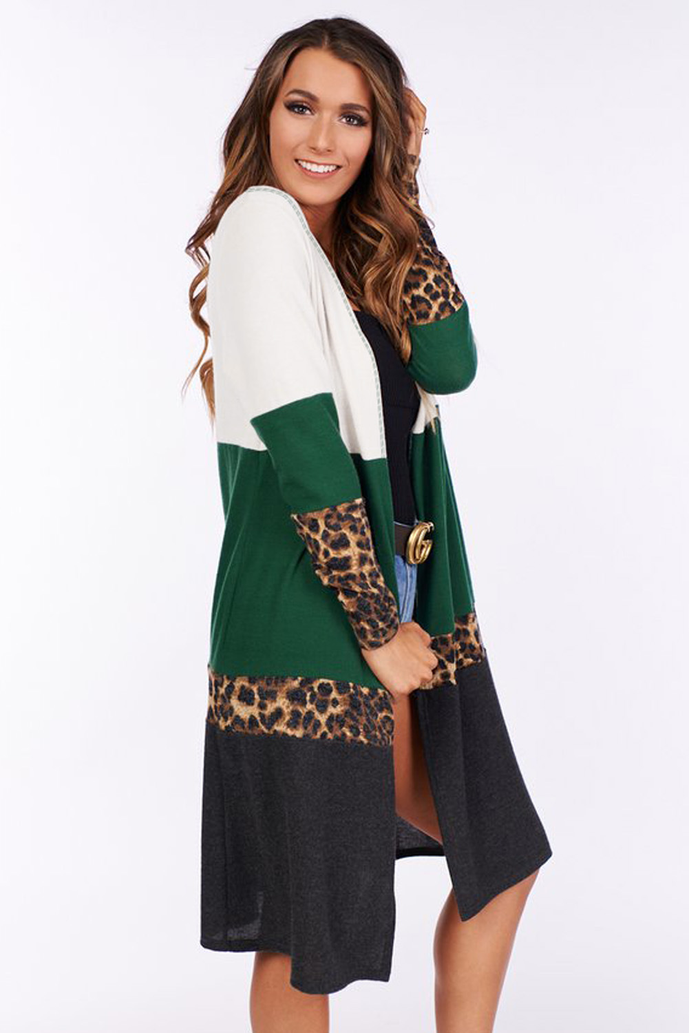 new autumn and winter jacket large size leopard stitching women's sweater long sleeves NSSI2309