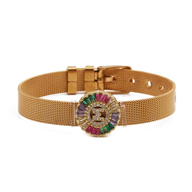 Fashion Copper Micro Inlaid Zircon Letter DIY Strap Bracelet Valentine's Day Gift NHYL199480
