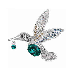 European and American fashion crystal brooch female temperament all-match alloy diamond-studded hummingbird corsage accessories coat color brooch