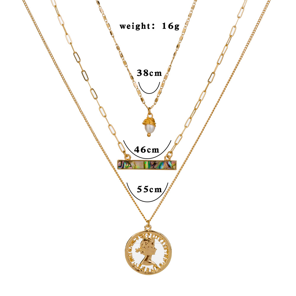 new hot-selling multi-element natural abalone pearl  combination metal multilayer alloy necklace NHAN243149