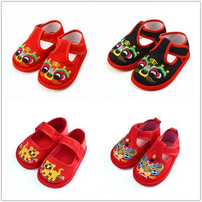 兒童虎頭鞋繡花鞋男女寶寶學步鞋0-1-2歲帆布鞋老虎鞋周歲生日鞋