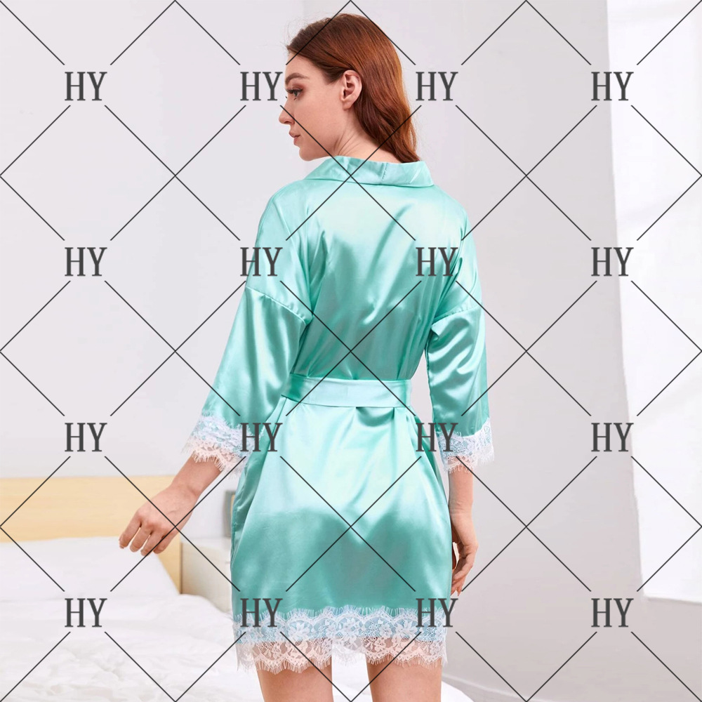 hot satin breathable comfortable sexy nightgown see-through lace sexy lingerie wholesale nihaojewelry NHYO236669