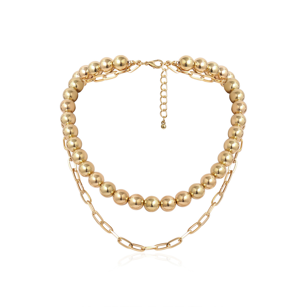 Fashion jewelry yiwu nihaojewelry wholesale simple punk thick chain items female exaggerated hip-hop round bead handmade necklace NHXR213630