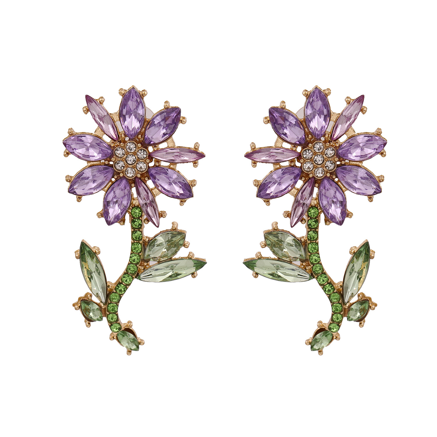 New fashion exaggerated floral full diamond wild earrings for women wholesale NHJJ208746