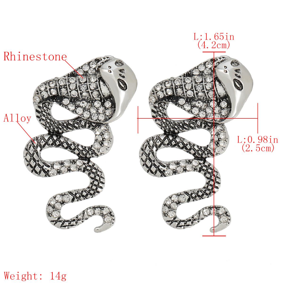 Creative alloy diamond rhinestone cobra earrings alternative earrings wholesale nihaojewelry NHJE237198