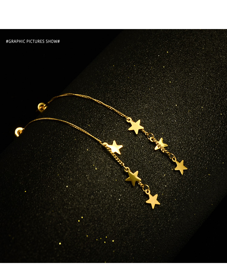 tower base three-layer five-pointed star earrings titanium steel material 18K real gold plated star earring wholesale nihaojewelry NHOK235185