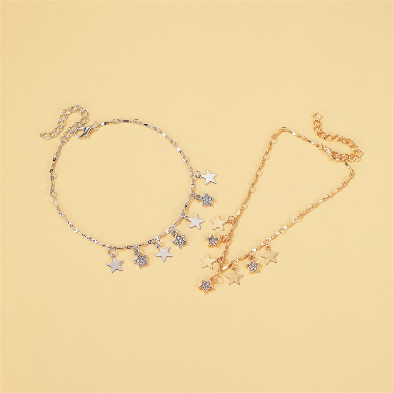 summer  new fashion beach wind star pendant anklet  wild five-pointed star tassel anklet nihaojewelry wholesale NHDP215302