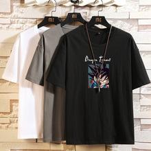 2020夏季T恤男純棉日系寬松落肩圓領短袖印花動漫卡通潮流男裝t恤