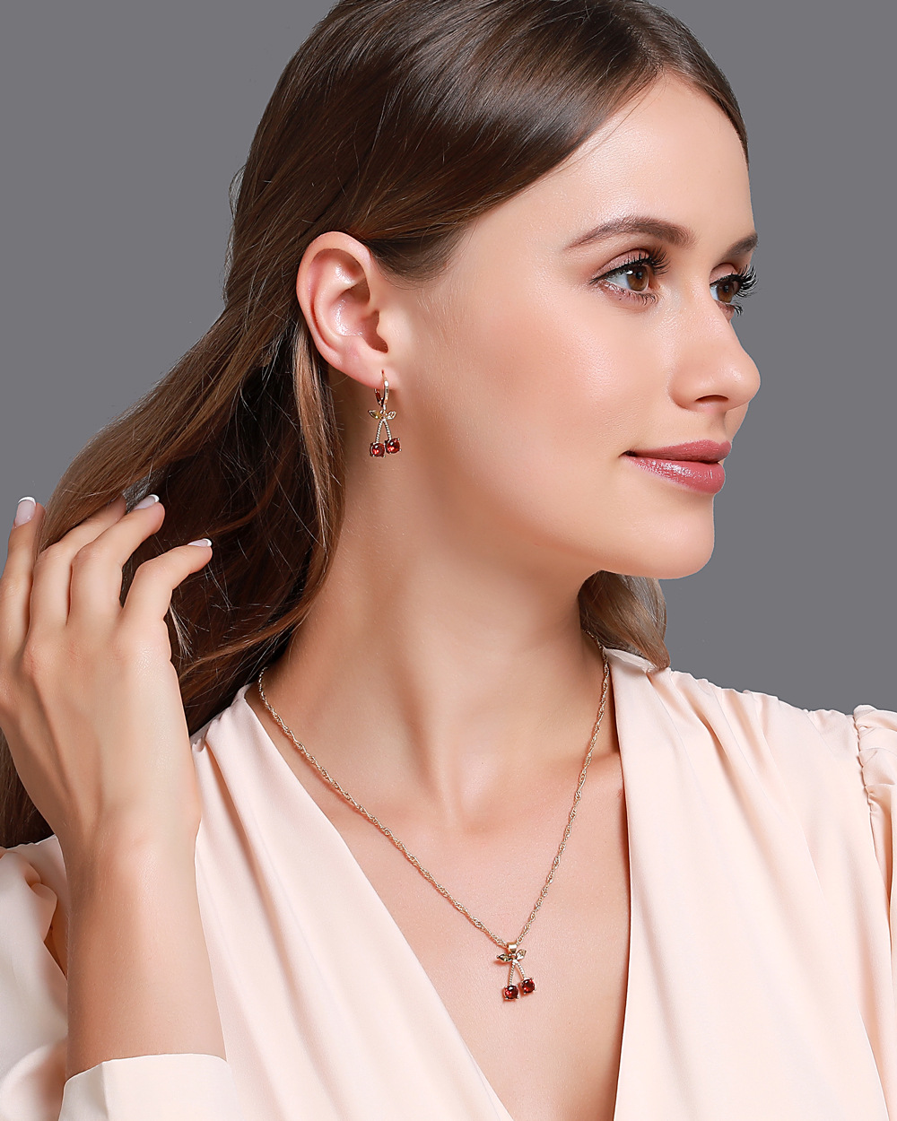 new style hot wedding dinner jewelry temperament pomegranate red cherry necklace girls simple wild crystal earrings wholesale nihaojewelry NHDP220004