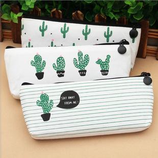 Korean creative cute large-capacity pencil case fresh and cute cactus pencil case creative storage coin purse stationery