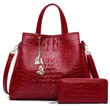 外贸新款手提女士包包欧美时尚鳄鱼纹女包两件套斜跨单肩包手拿包