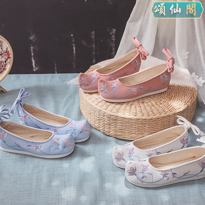 Chinese hanfu shoes princess fairy cosplay shoes Women ancient shoes with ancient bow shoes of Han Dynasty