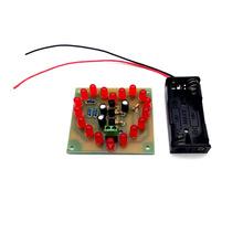 LED心形闪烁灯 18只红色 循环 电子制作入门 教学组装DIY套件