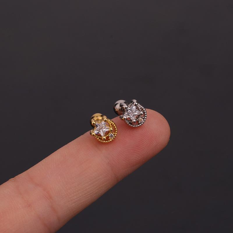 new zircon ear bone nails stainless steel threaded key earrings  NHEN260926