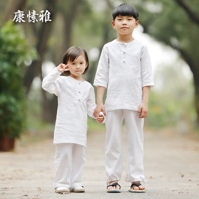 Children's yoga suit cotton linen retro team Kids wushu performance clothing custom meditation tea art parent-child wear