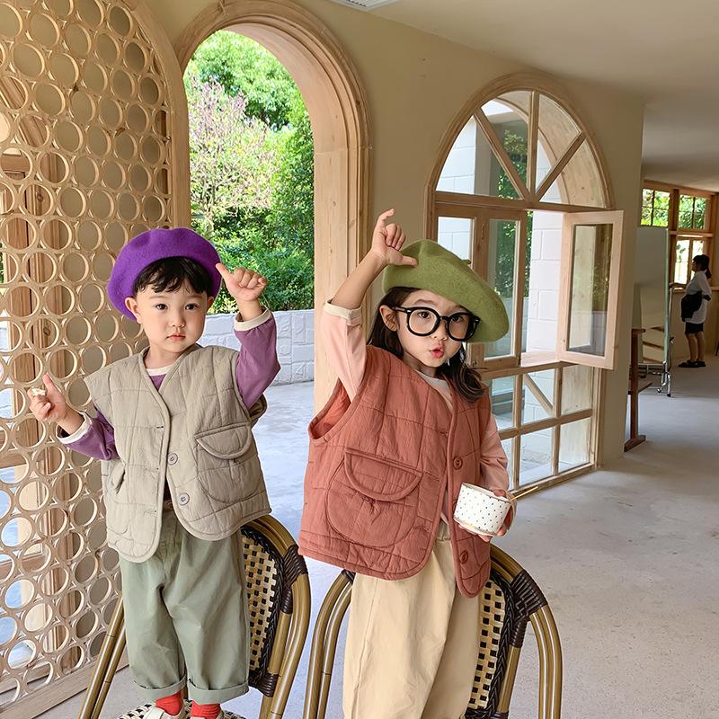 左左王子童装2020秋冬新款韩版男童可爱圆口袋棉马甲女童薄棉马夹