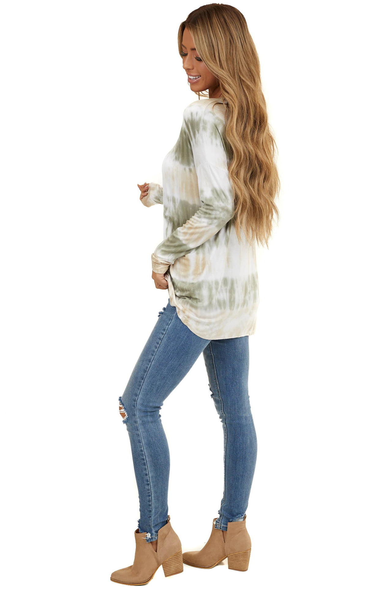 women's autumn new tie-dye printing long-sleeved round neck top T-shirt NSYF823