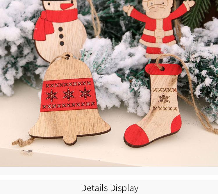 Christmas painted wooden small pendants Christmas tree twine pendants wholesale  NHMV262318