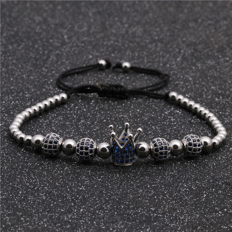 Fashion Micro Inlaid Blue Zirconia Crown Diamond Ball Woven Bracelet NHYL199482