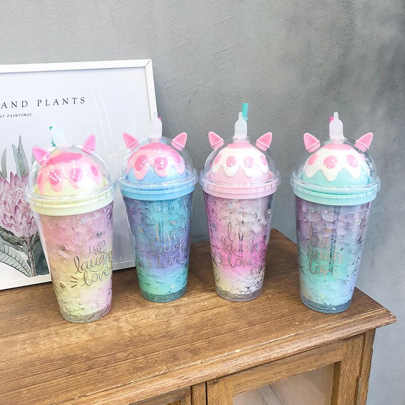 厂家直销韩版可爱猫爪冰杯 渐变双层吸管水杯夏日大容量碎冰杯子