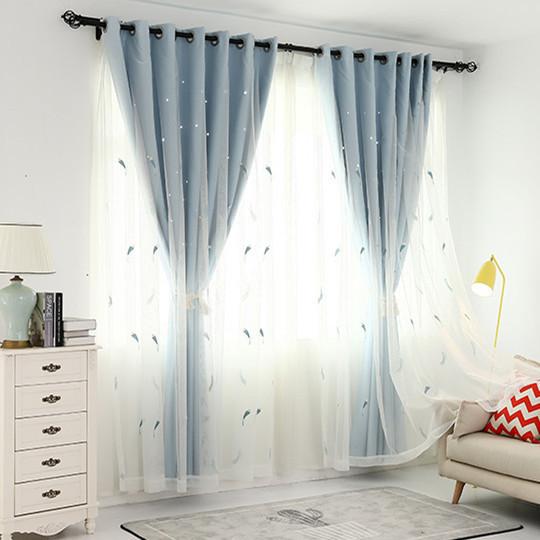 韩式镂空星星加羽毛纱全遮光窗帘双层卧室客厅飘窗阳台定制成品