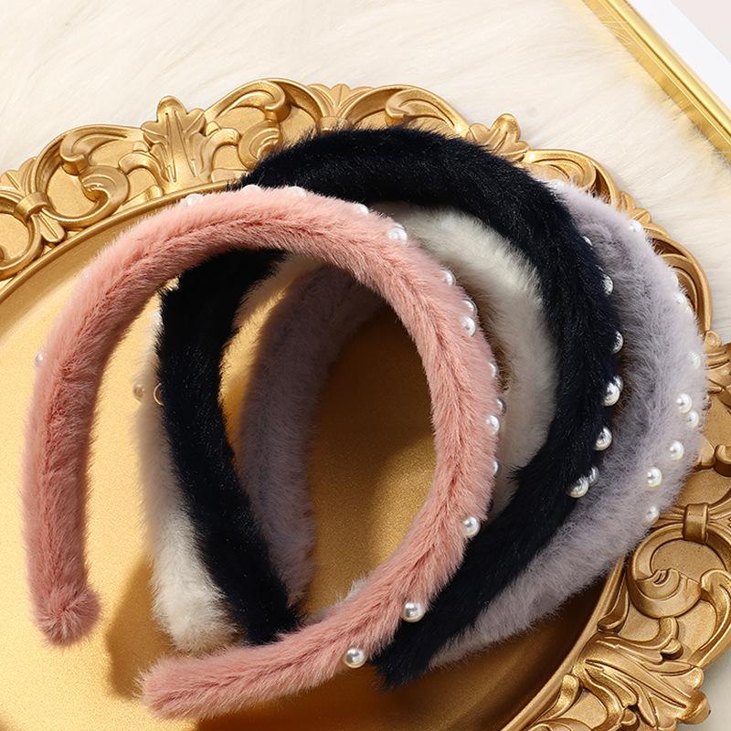 autumn pearl velvet high stretch sponge Korean fashion velvet headband for women NHAU263002