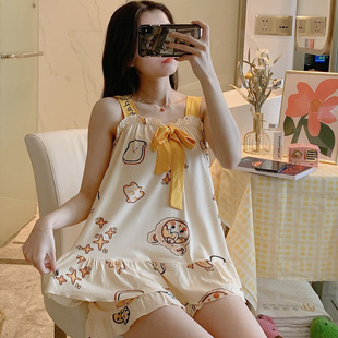 Pajamas women's camisole suit sleeveless summer Korean cartoon loose can be worn outside the net red home service bow